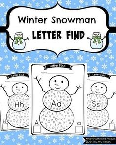 Letter Find - Winter Snowman Theme. The kids can search for upper and lower case letters, then count them and record how many they found.   #preschool #letter #alphabet #recognition #activity #kindergarten