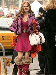 "I know ""confessions of a shopaholic"" might not be an ""Oscar worthy"" film, but I thought Isla Fisher was adorable in it and I loved this funky yet high end  ( note the Gucci and the tangerine suede gloves) outfit, the color, the texture and the styles of each piece  are all so different yet somehow all together they work.."