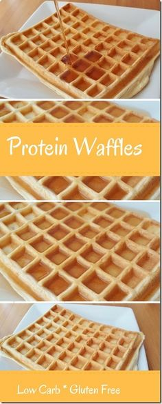 Prote na Keto Waffles - S lo 4 Ingredientes Low Carb Waffles, Healthy Waffles, Protein Waffles, Gluten Free Waffles, Protein Muffins, Protein Cookies, High Protein Snacks, High Protein Low Carb, High Protein Recipes