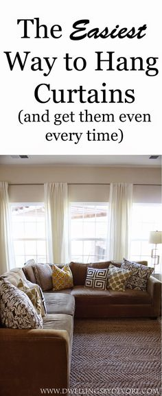 The Easiest Way to Hang Curtain Rods and get them even every time! The Easiest Way to Hang Curtain Rods and get them even every time! Hanging Curtain Rods, Diy Curtains, How To Hang Curtains, 3 Window Curtains, Beige Curtains, Patterned Curtains, Vintage Curtains, Nursery Curtains, Double Curtains