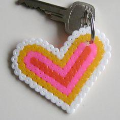 Heart keyring perler beads by Jufanita
