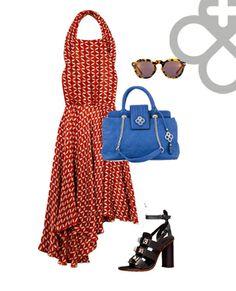 Get The Look totalmente para el calor llevando un vestido fresco, lentes de sol y como protagonista tu bolso Jaime Ibiza! Usa colores contrastantes! #blue #red #print #handbags #designer #mexico
