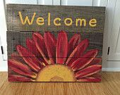 Reclaimed Wood Welcome Sign with Daisy. Pallet Art