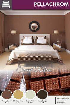 Αποχρώσεις που θα ζεστάνουν των χώρο που χαλαρώνετε μετά από μια δύσκολη ημέρα!  #pellachrom #colors #paints #modern #bedroom #hues #sweet #warm #relaxation #space #interiorpaints #matt #sophisticated Color Combinations, Relax, Bed, Furniture, Home Decor, Color Combos, Decoration Home, Stream Bed, Room Decor