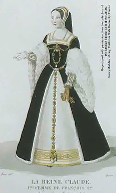 TUDOR STYLE Queen Claude, Anne of Bretagne's daughter, is wearing the updated version of 'French Hood', of which her mother made famous. Also with French fashion, the skirt worn by Claude is wider and more round then her mother's more loose skirt. Tudor Dress, Tudor Era, Medieval Dress, Mode Renaissance, Costume Renaissance, Renaissance Clothing, Renaissance Fashion, 16th Century Clothing, Royals