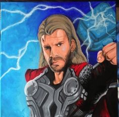 Hero canvas commission 1 of 6 Kids Wall Murals, Hand Painted Walls, Custom Canvas, Thor, Painting, Fictional Characters, Art, Custom Screens, Art Background