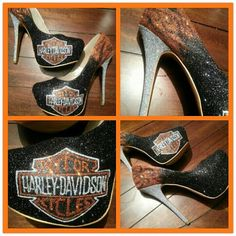 """Harley Davidson Heels....these would be great to wear at a stuffy preppy dinner party  at the country club for all of the other ladies to look at you and say 'look at those heels she is wearing""""!"""