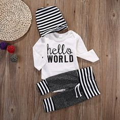 Hello World Baby Boy Outfit