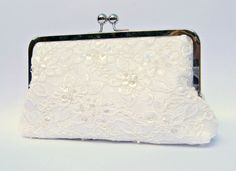 Lace bridal clutch bag ivory pearl and by ConstanceHandcrafted, $65.00