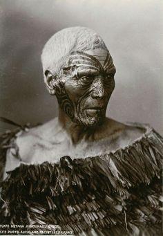 Maori Chief with Moko tattoo, photograph by Iles, Auckland, circa 1890 #maoritattoosface
