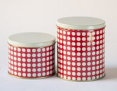 Polka dot tin canisters set of 2 unused red white by SovietEra, $16.00
