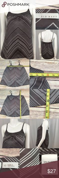 🌈Sz XS Old Navy Gray Diagonal Striped Tank Top Measurements are in photos. Normal wash wear, no flaws. B2  I do not comment to my buyers after purchases, do to their privacy. If you would like any reassurance after your purchase that I did receive your order, please feel free to comment on the listing and I will promptly respond. I ship everyday and I always package safely. Thanks! Old Navy Tops Tank Tops