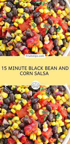 15 Minute Black Bean and Corn Salsa – 1 SmartPoint – Weight Watchers Recipes Corn Salsa Dip, Black Bean Corn Salsa, Black Corn, Yellow Corn, Black Bean Dip, Canned Beans Recipe, Canned Corn Recipes, Rotel Salsa Recipe, Black Bean Salad Recipe