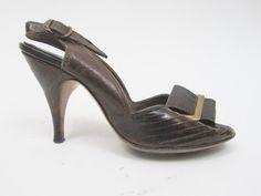 1940s brown peep toes