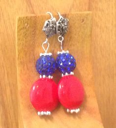 Fourth of July - Handmade Beaded Earrings - Red, White & Blue by TheWarriorsJewelry on Etsy