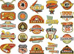 """Graphic designers in the popularized logo design and started a trend of """"corporate identity."""" Since then, most companies seek talented artists to design their logos. Pinned by Edward Ruano Vintage Logo, Vintage Labels, Vintage Signs, American Logo, Image American, Shop Signs, Painted Signs, Sign Design, Poster"""