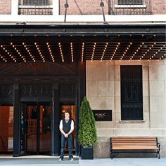 Exterior view of The Public hotel, a new hotel by Ian Schrager, located in the Gold Coast district of downtown Chicago.