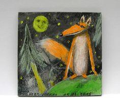 FUCHSLICHTUNG von Herbivore11 Unikat Minibild Fuchs Lichtung Mond kleine Kunst