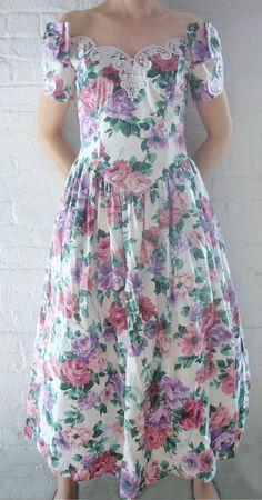 80s Floral Dress Vintage Wedding Dress by KingArtsAndVintage, $60.00