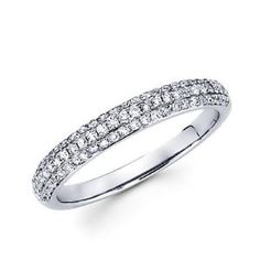 Size- 11.5 - 14k White Gold Round Diamond Pave Dome Ring Band .42 ct (G-H Color, I1 Clarity) - http://www.wonderfulworldofjewelry.com/jewelry/rings/size-115-14k-white-gold-round-diamond-pave-dome-ring-band-42-ct-gh-color-i1-clarity-com/ - Your First Choice for Jewelry and Jewellery Accessories