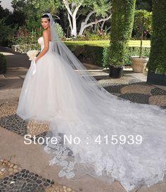 2016 Top charming kim kardashian catedral trem tule e renda a figura completa vestido de noiva vestido de noiva HS090
