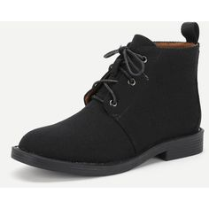 SheIn(sheinside) Lace Up Round Toe Flat Boots ($36) ❤ liked on Polyvore featuring shoes, boots, black rubber boots, black lace up boots, flat boots, flat black boots and lace up rubber boots