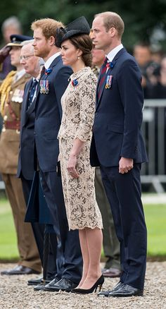 Prince William, Duke of Cambridge and Catherine, Duchess of Cambridge with Prince Harry attend a Commemoration of the Centenary of the Battle of the Somme at The Commonwealth War Graves Commission Thiepval Memorial on June 30, 2016 in Thiepval, France.