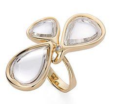 Anel de ouro amarelo 18K com cristais de rocha e diamante - Coleção DVF Link:http://www.hstern.com.br/joias/p-produto/A2Q196727/anel/dvf/anel-de-ouro-amarelo-18k-com-cristais-de-rocha-e-diamante---colecao-dvf
