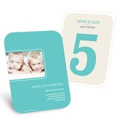 Kids Birthday Invitation - Bold Numbers in Aqua