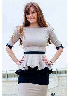 Beige peplum blouse, beige with black Wristbands, office or elegant