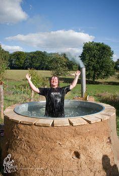 Cob and stone, fire heated hot tub!!!