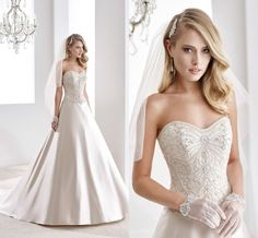 Strapless Ball Gown Wedding Dresses 2016 Satin Wedding Dresses By Nicole Spose Strapless Beading Crystals Ball Gown Bridal Gowns With Lace Up Back And Chapel Train Custom Made Classy Wedding Dresses From Nicedressonline, $201.05  Dhgate.Com