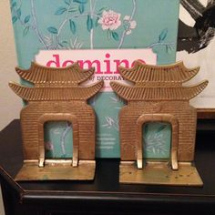 Vintage Brass Pagoda Bookends Asian Bookends by ArtandAntlers - available on Etsy!