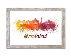 Ahmedabad skyline in watercolor over white background with name of city - SKU 1324 by Paulrommer on Etsy
