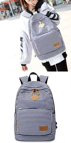 Summer Striped Leisure Canvas Backpack - New School Plans Lace Backpack, Retro Backpack, Striped Backpack, Fashion Backpack, Fashion Bags, Backpacks For Teens School, Boys Backpacks, Backpack For Teens, College Backpacks