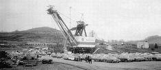 """Giant Shovel on Strip Mine Fight: 1973 Surface Mining, Coal Mining, Cadiz, Heavy Equipment, Shovel, West Virginia, Tractors, Paris Skyline, Egypt"