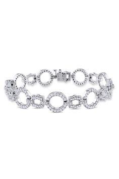 White Gold Diamond Circle & Hexagon Link Bracelet - ctw by Red Carpet Ready: Fine Jewels on Diamond Bracelets, Link Bracelets, Bangle Bracelets, Expensive Jewelry, Brilliant Diamond, White Gold Diamonds, Body Jewelry, Gemstone Jewelry, Jewelery