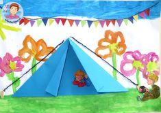 Collage thema camping 4 met kleuters, kleuteridee.nl, voor free printables zie de website.
