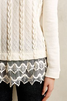 Lace-Dipped Pullover #anthroregistry