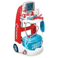 A complete toy medical trolley with all essential accessories! This medical trolley is easy to handle for any little doctor or nurse. Doctor Play Set, Playing Doctor, 90s Toys, Trolley, Medicine Bottles, Sports Toys, Pretend Play, Play Doh, Toy Store