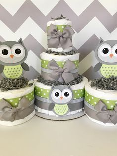 SET OF 3 Owl Diaper Cakes in Sage Green and Gray, Owl Baby Shower Centerpieces, Owl Baby Shower Decorations, Neutral Baby Shower Ideas by AllDiaperCakes on Etsy https://www.etsy.com/listing/558279121/set-of-3-owl-diaper-cakes-in-sage-green