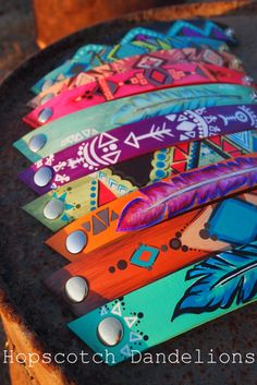 Hand painted Native American inspired leather cuff bracelets by Hopscotch Dandelions https://www.facebook.com/HopscotchDandelions
