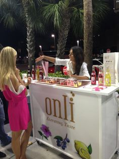 #onli #Sparkling #water #bar #brand #ambassador #event #pink #Flavor #Palm #Beach #menu #straws