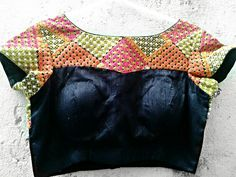 Vivid and stylish kutch work blouse in high boat neck M by Sravams, $80.00