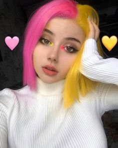 Find images and videos about pink, beauty and makeup on We Heart It - the app to get lost in what you love. Cute Hair Colors, Hair Dye Colors, Cool Hair Color, Brown Hair Colors, Half Colored Hair, Half And Half Hair, Split Dyed Hair, Hair Color Streaks, Photographie Portrait Inspiration