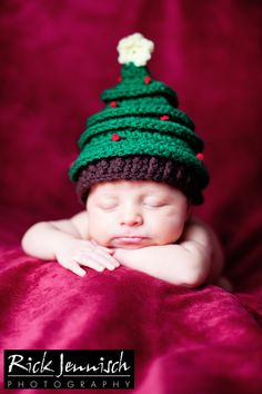 Newborn Crochet Christmas Tree Hat Photography Prop by OKAMommy, $24.00