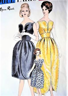 DRAMATIC Nina Ricci Evening Gown or Cocktail Dress Pattern VOGUE Paris Original 1017 Stunning Party Dress Design Bust 31 Vintage Sewing Pattern-At So Vintage Patterns® you will find authentic vintage sewing patterns: This is a fabulous orig Vogue Dress Patterns, Vintage Dress Patterns, Pattern Dress, Moda Vintage, Vintage Outfits, Vintage Dresses, Vogue Paris, Retro Fashion, Vintage Fashion