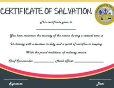 salvation army certificate of dedication - Certificate Of Salvation Template