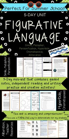 In this unit students will define, interpret, write, read, and analyze six types of figurative language: simile, metaphor, personification, onomatopoeia, alliteration, and hyperbole. Each lesson includes guided instruction, independent writing practice, independent reading practice, and a super fun and engaging figurative language activity.  At the end of this unit, students will be able to better understand, write, read and interpret figurative language.
