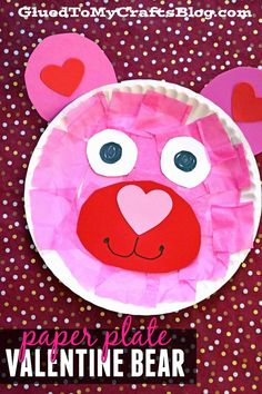 Paper Plate Valentine Bear - Valentine's Day Kid Craft Idea - Toddler Friendly DIY day crafts for kids Paper Plate Valentine Bear - Kid Craft Idea Valentine's Day Crafts For Kids, Valentine Crafts For Kids, Daycare Crafts, Classroom Crafts, Preschool Crafts, Toddler Arts And Crafts, Paper Plate Crafts For Kids, Children Crafts, Homemade Valentines